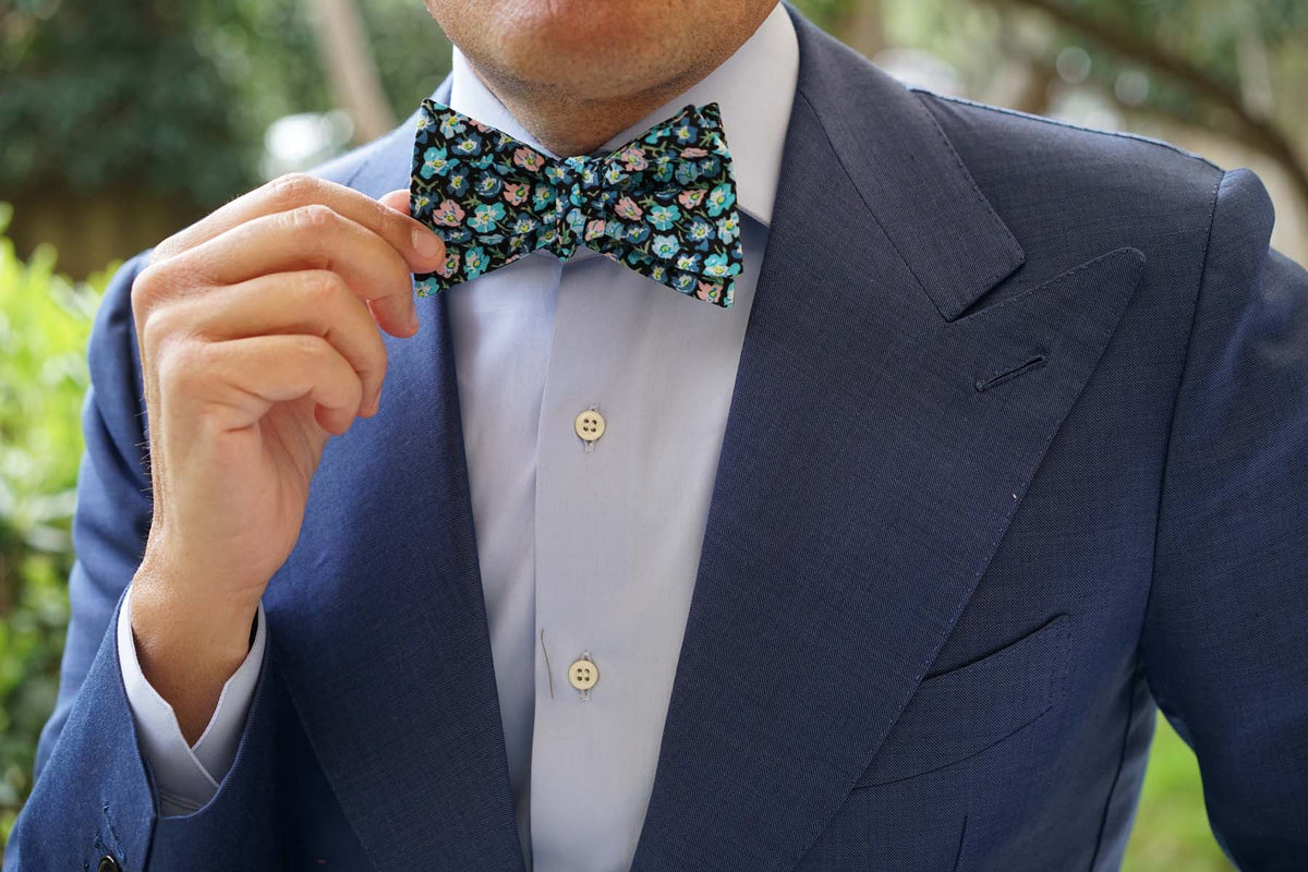 Flax Linum Blue Floral Self Bow Tie