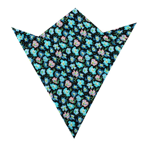 Flax Linum Blue Floral Pocket Square