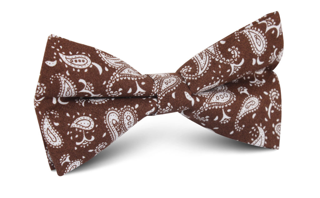 Florence Paisley Brown Bow Tie