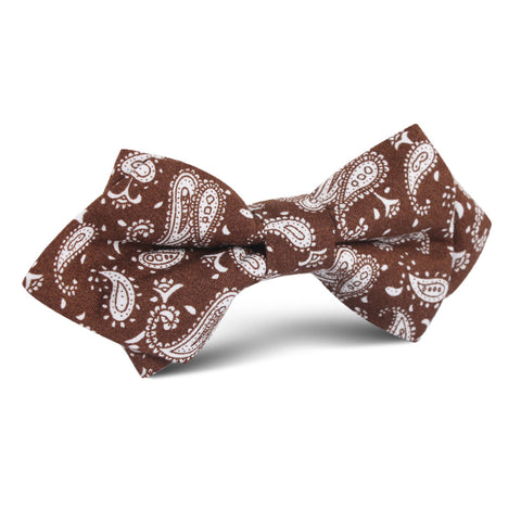 Florence Paisley Brown Diamond Bow Tie