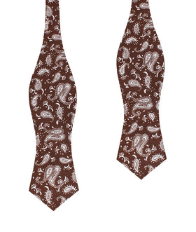 Florence Paisley Brown Diamond Self Bow Tie
