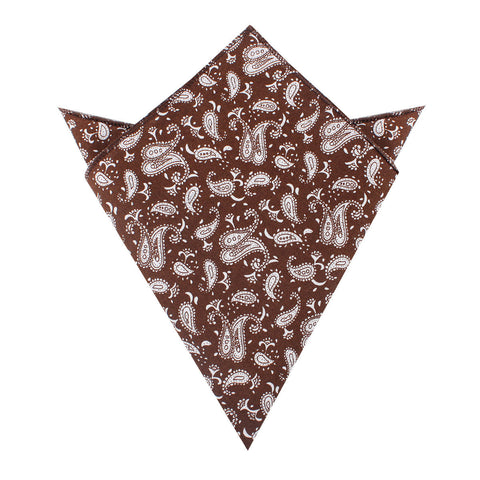Florence Paisley Brown Pocket Square