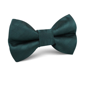 Forest Dark Green Striped Kids Bow Tie