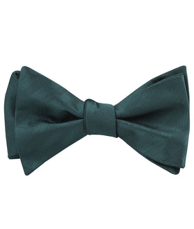 Forest Dark Green Striped Self Bow Tie