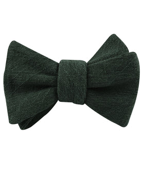 Forest Green Crocodile Linen Self Bow Tie