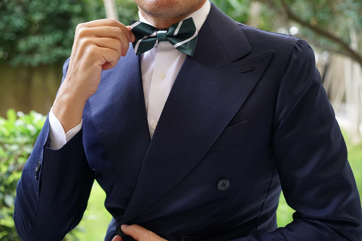 Forest Green Striped Bow Tie
