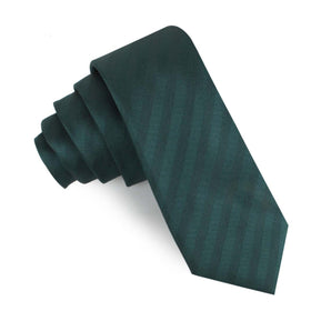 Forest Dark Green Striped Skinny Tie