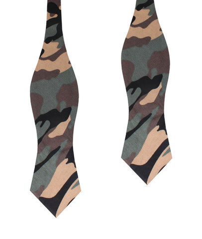 Forest Green Camouflage Diamond Self Bow Tie