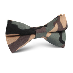 Forest Green Camouflage Kids Bow Tie
