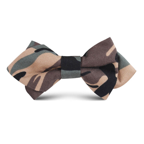 Forest Green Camouflage Kids Diamond Bow Tie