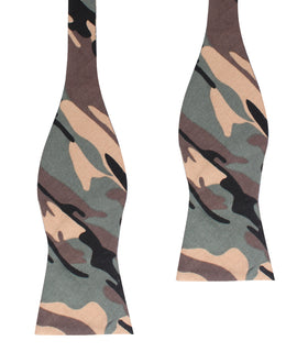 Forest Green Camouflage Self Bow Tie