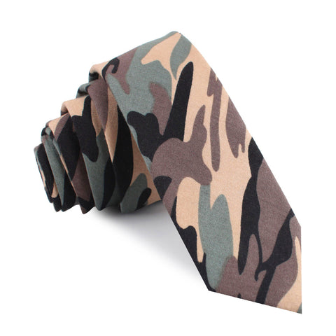 Forest Green Camouflage Skinny Tie