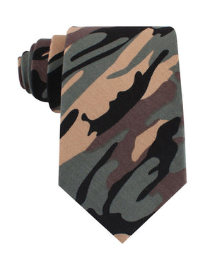 Forest Green Camouflage Tie