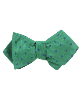 Forest Green Dark Polkadot Diamond Self Bow Tie