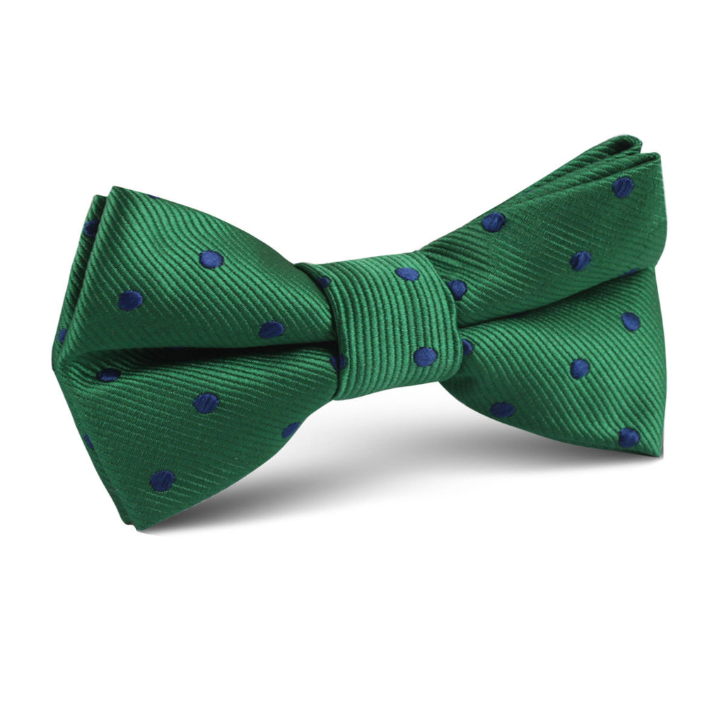 Forest Green Dark Polkadot Kids Bow Tie