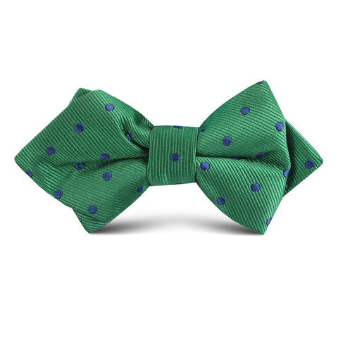 Forest Green Dark Polkadot Kids Diamond Bow Tie