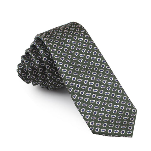 Forest Green Paisley Skinny Tie