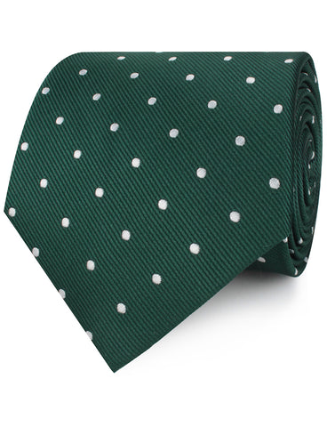 Forest Green Polka Dots Necktie