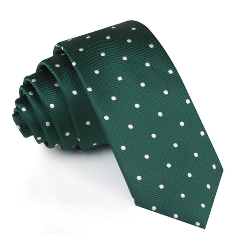 Forest Green Polka Dots Skinny Tie