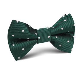 Forest Green Polka Kids Bow Tie