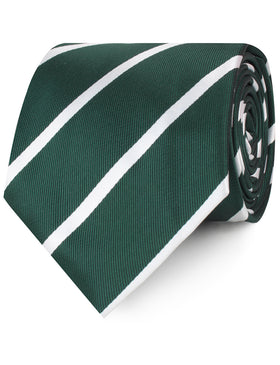 Forest Green Striped Necktie