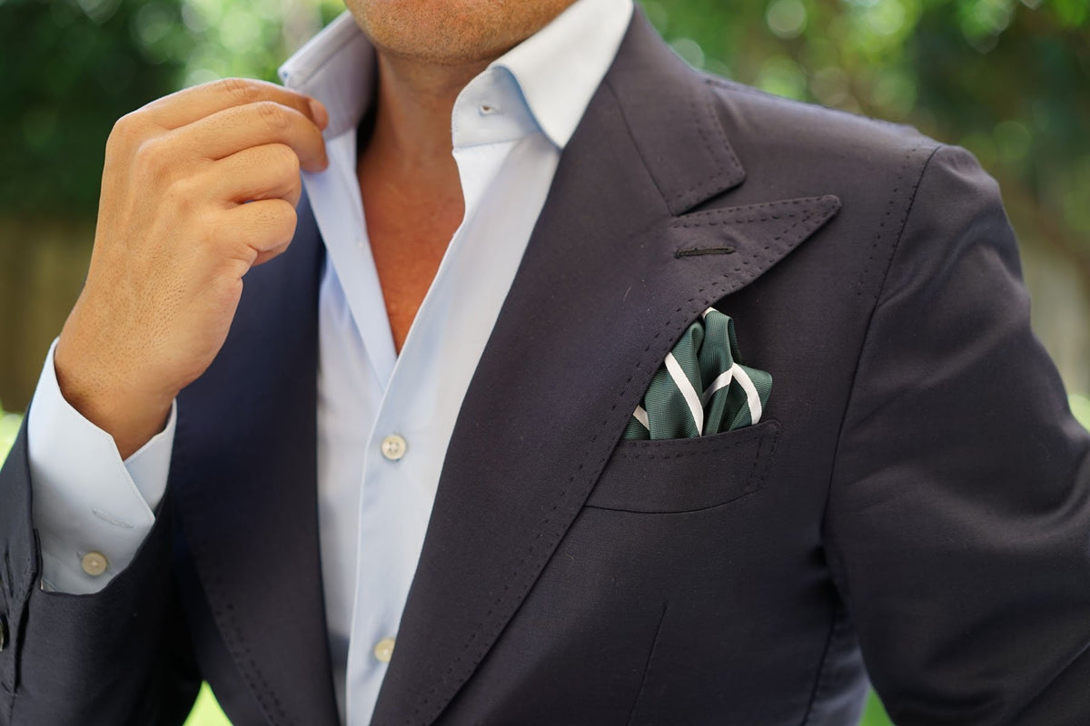 Forest Green Striped Pocket Square