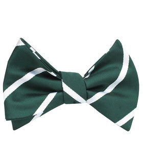 Forest Green Striped Self Bow Tie