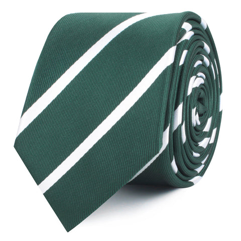 Forest Green Striped Skinny Tie