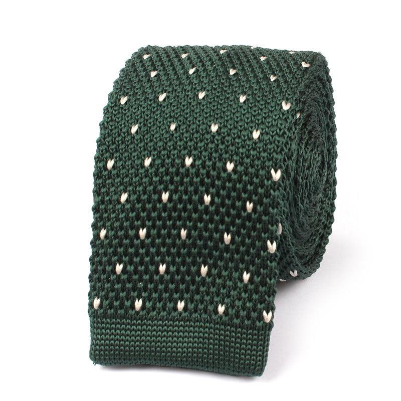 Forest Green White Pattern Knitted Tie Knit Ties Knits Necktie