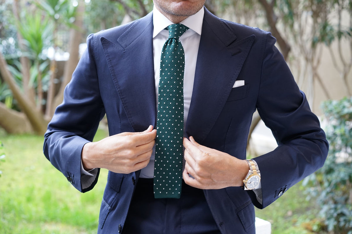 Forest Green & White Pattern Knitted Tie