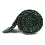 Forest Green & White Pattern Knitted Tie Side Roll