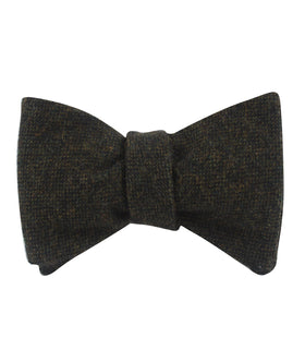 Forest Romney Sharkskin Wool Self Bow Tie