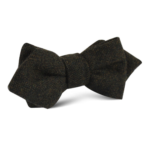 Forest Romney Sharkskin Wool Diamond Bow Tie