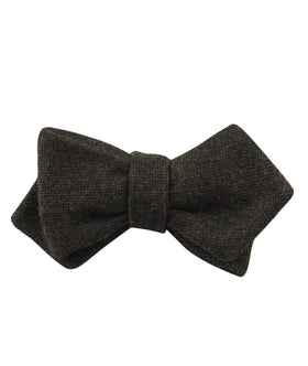 Forest Romney Sharkskin Wool Diamond Self Bow Tie