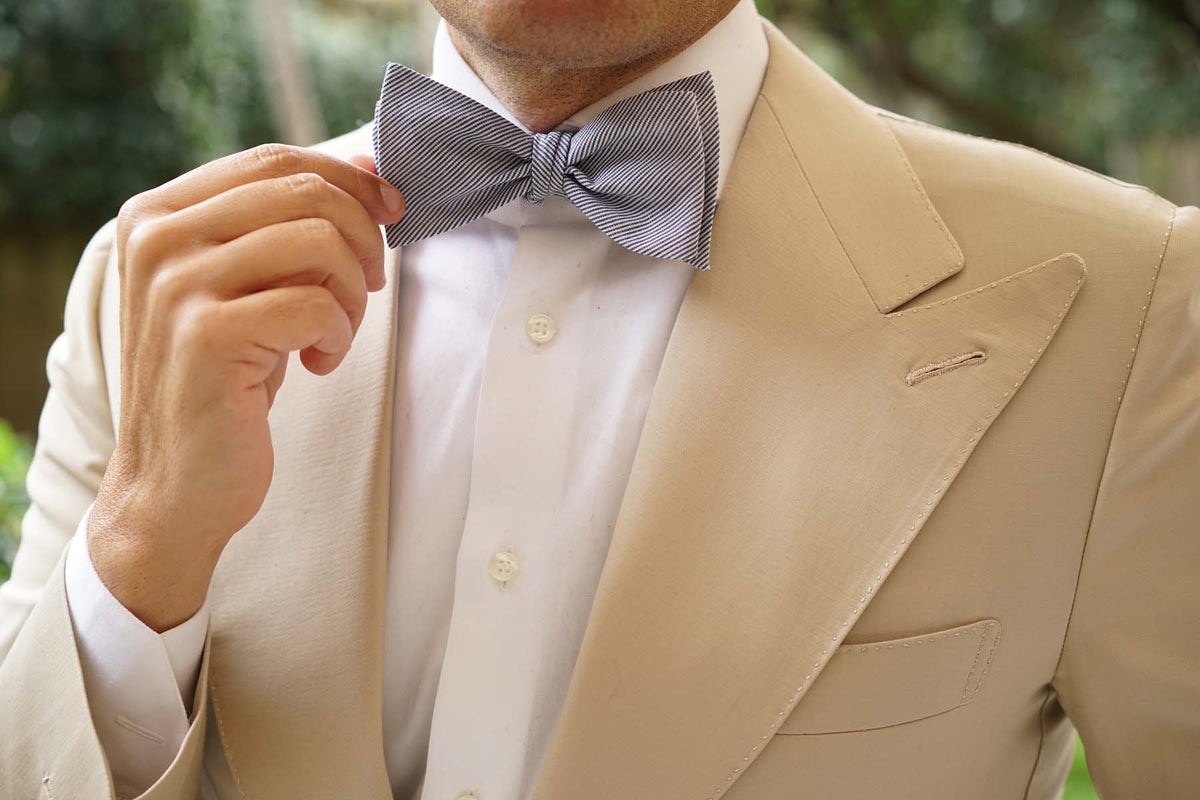 French Pinstripe Cotton Self Tie Bow Tie