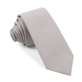 Gainsboro Light Gray Cotton Skinny Tie
