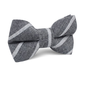 Galileo Pewter Grey Striped Linen Kids Bow Tie