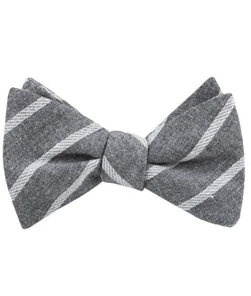 Galileo Pewter Grey Striped Linen Self Bow Tie