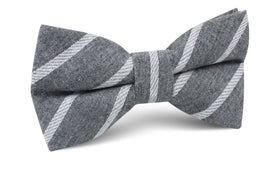 Galileo Pewter Grey Striped Linen Bow Tie