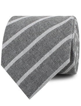 Galileo Pewter Grey Striped Linen Necktie
