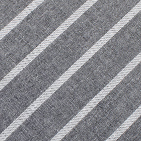 Galileo Pewter Grey Striped Linen Pocket Square