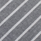 Galileo Pewter Grey Striped Linen Pocket Square Fabric