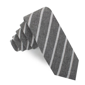 Galileo Pewter Grey Striped Linen Skinny Tie