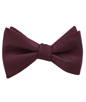 Garnet Wine Burgundy Weave Self Bow Tie