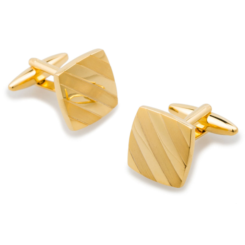 Genghis Khan Brushed Gold Cufflinks