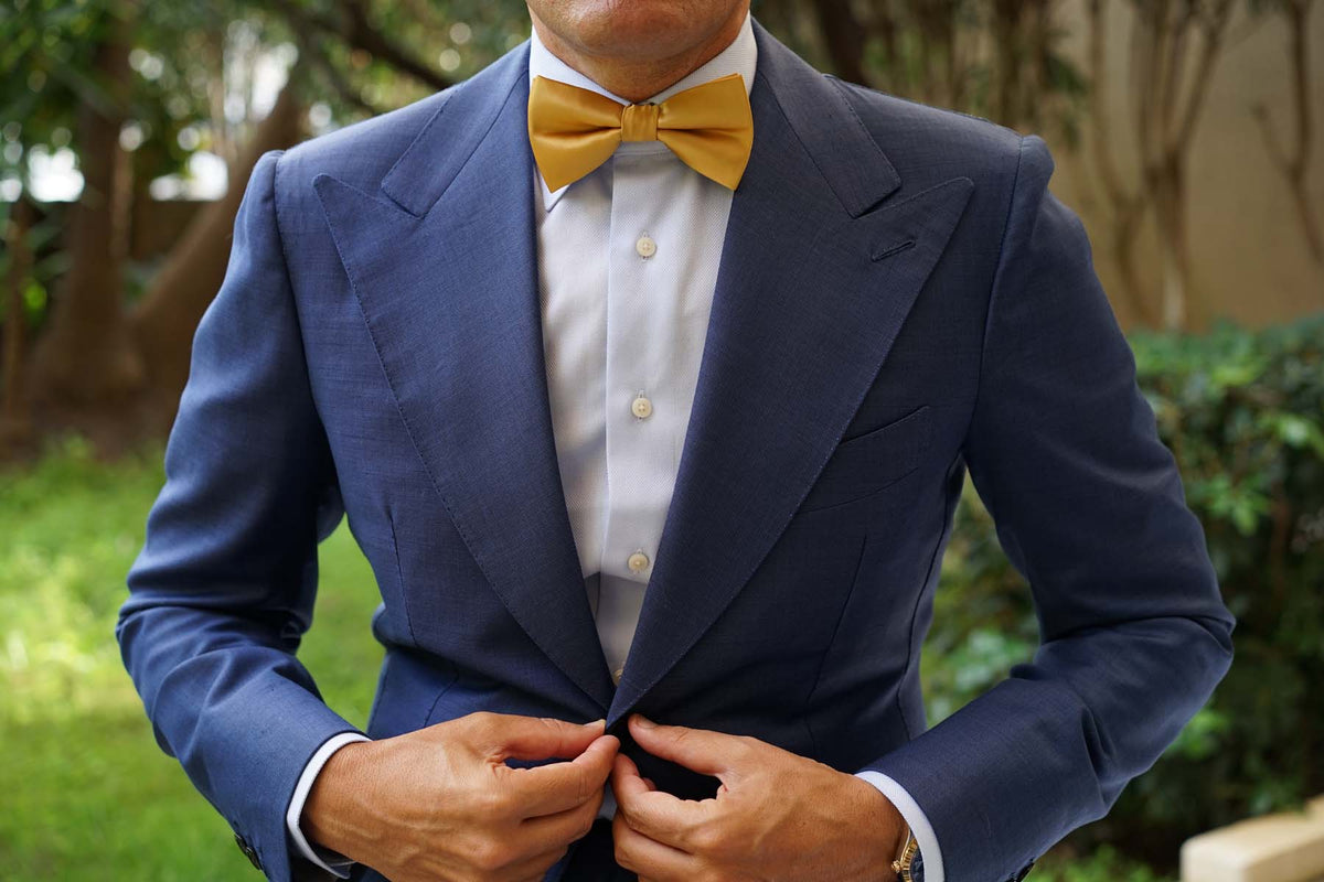 Gold Satin Bow Tie