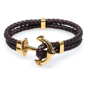 Gold Anchor Brown Bracelet