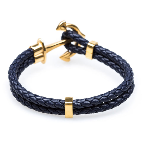Gold Anchor Navy Bracelet