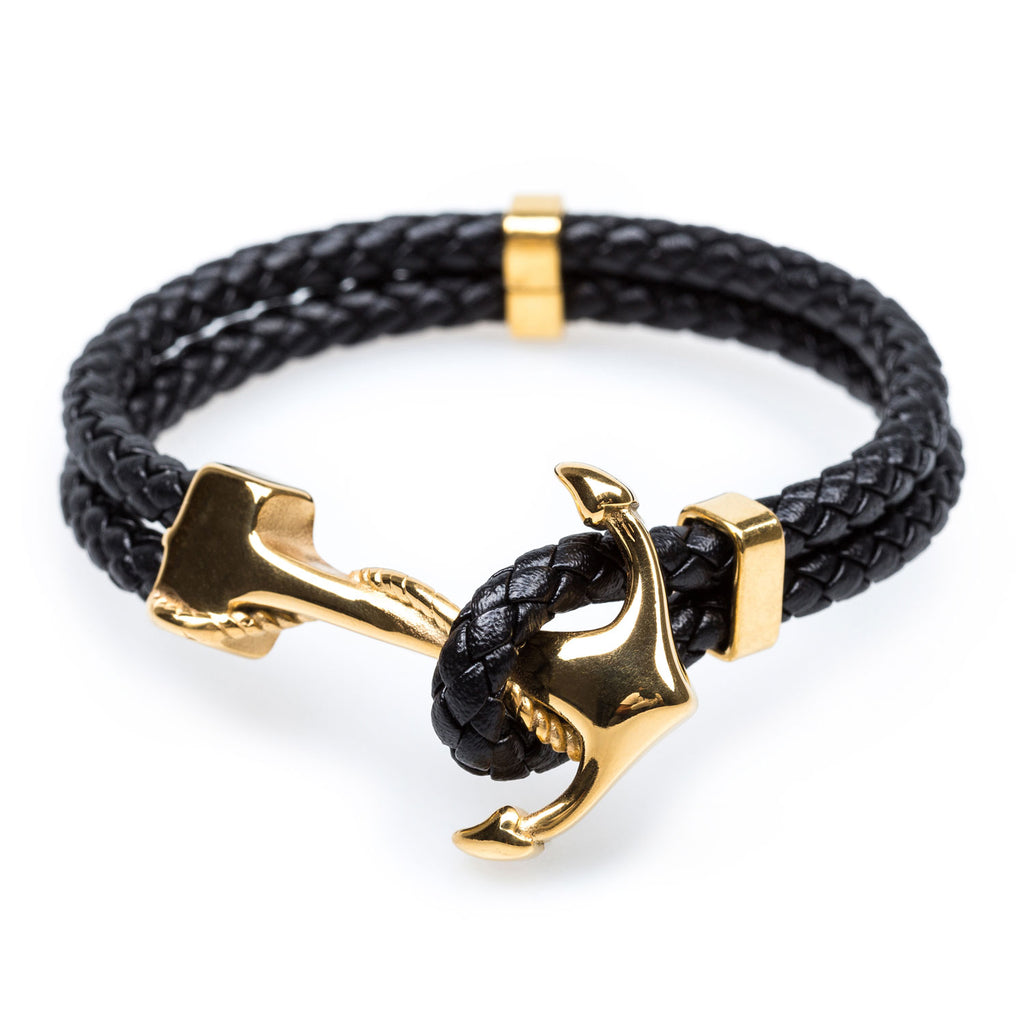 steel jc black bracelet wholesale jewelry fashion leather mens