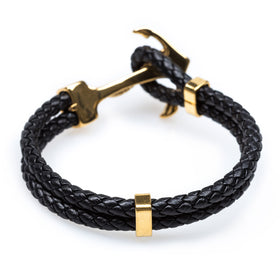 Gold Anchor Rope Black Bracelet